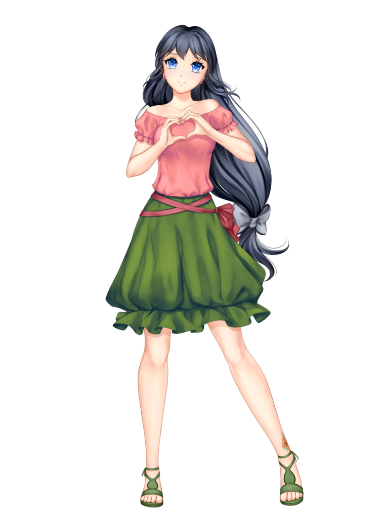 anime girl with black hair long hair hairband himari kobayashi green skirt lightred top blue eyes