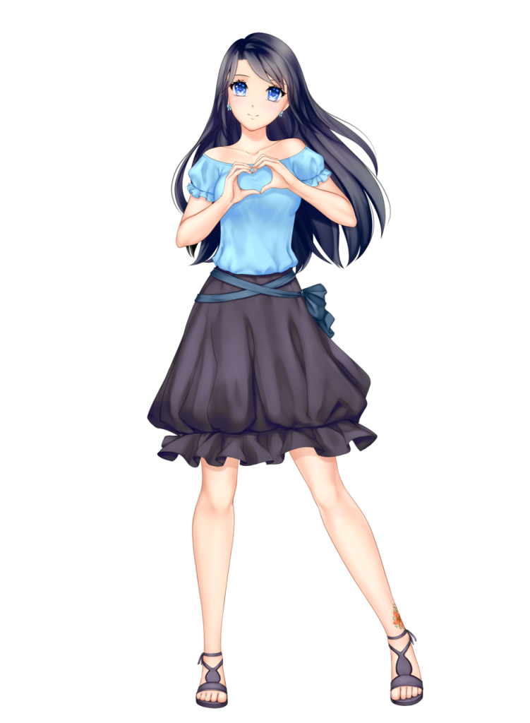 anime girl with black hair long hair himari kobayashi blue top black skirt blue eyes