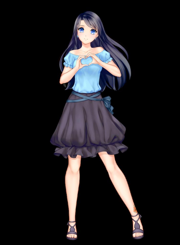anime girl with black hair long hair himari kobayashi blue top black skirt blue eyes