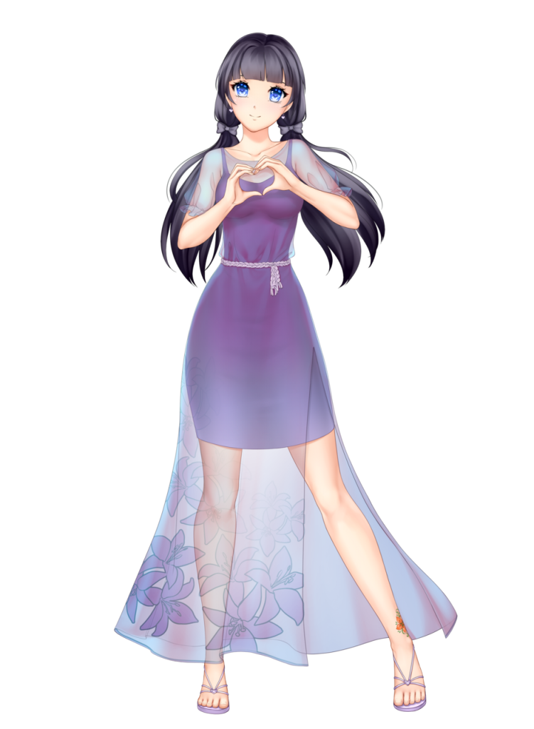 anime girl with black hair long hair two braids himari kobayashi purple dress blue eyes
