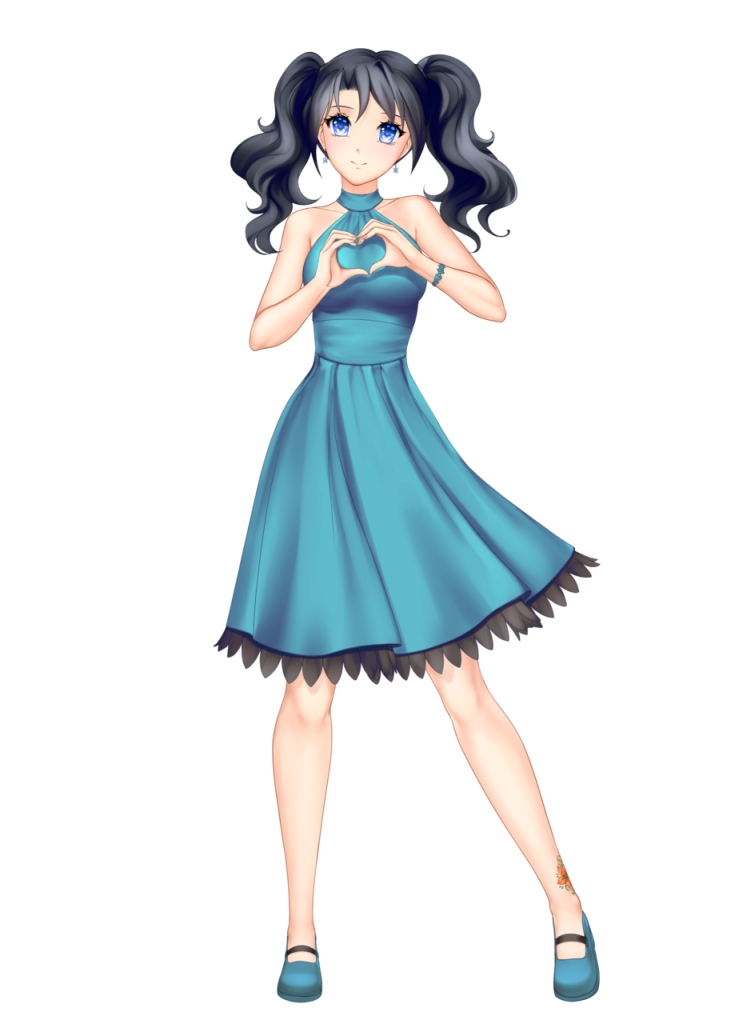 anime girl with black hair medium hair two braids himari kobayashi blue dress blue eyes