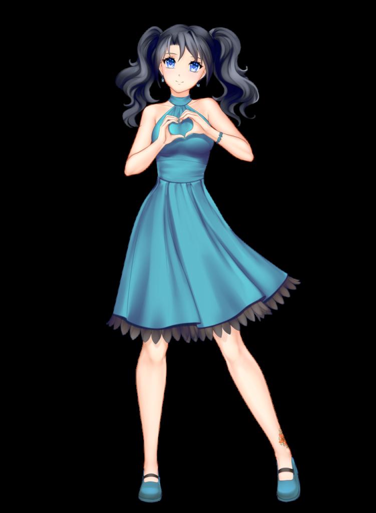 anime girl with black hair medium hair two braids himari kobayashi blue dress blue eyes