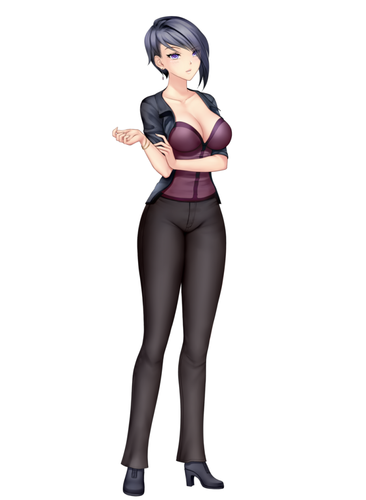 anime girl with black hair short hair harumi saito black jeans red coursage black jacket purple eyes