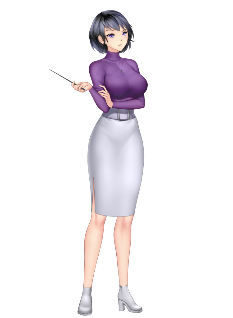 anime girl with black hair short hair harumi saito purple top long grey skirt blue eyes