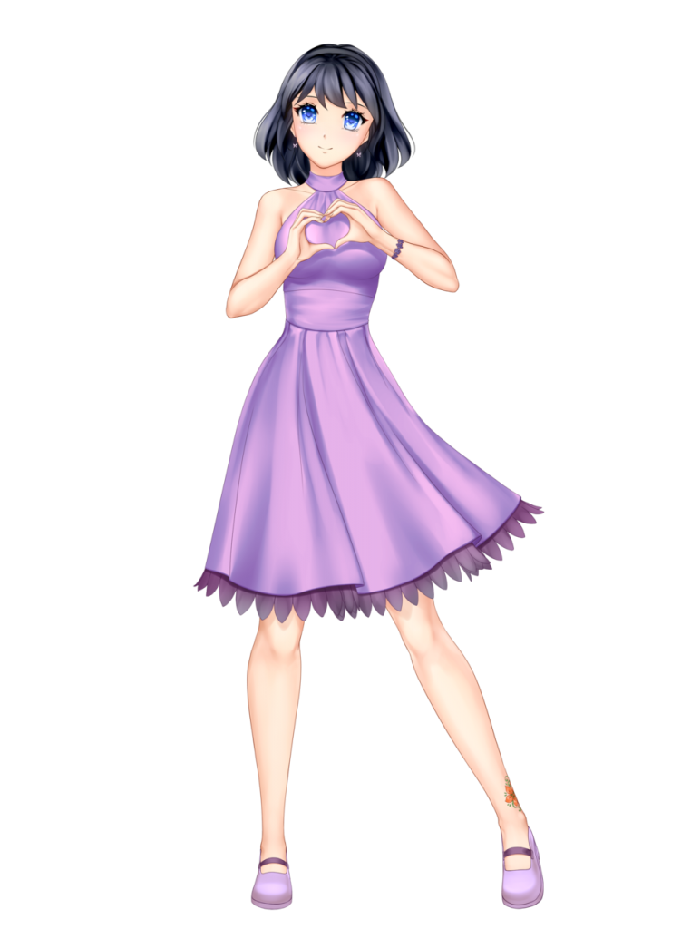 anime girl with black hair short hair himari kobayashi lightpurple dress blue eyes
